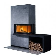 CONTURA i41T plieninis židinio ugniakuras su kampiniu stiklu ir suoliuku