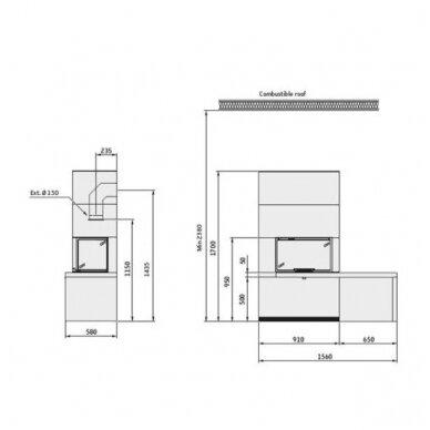 CONTURA i41T plieninis židinio ugniakuras su kampiniu stiklu ir suoliuku 3