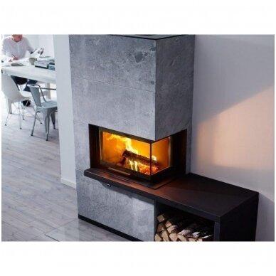 CONTURA i41T plieninis židinio ugniakuras su kampiniu stiklu ir suoliuku 2
