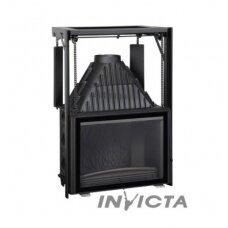 INVICTA 800 židinys su tiesiu, tonuotu ir kontrsvoriais pakeliamu stiklu