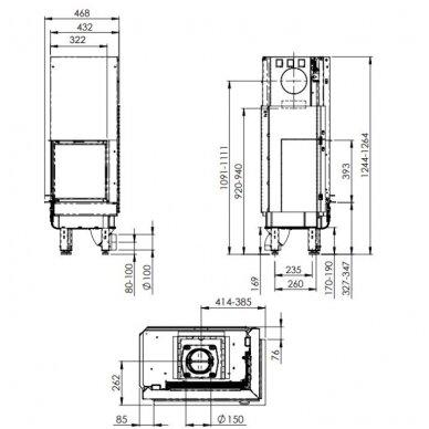NORDPEIS Q-34AL židinio ugniakuras (su pasirinkimais) 4