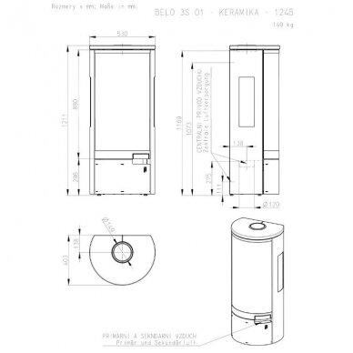 ROMOTOP BELO 3S 01 plieninė krosnelė su keramine apdaila 7