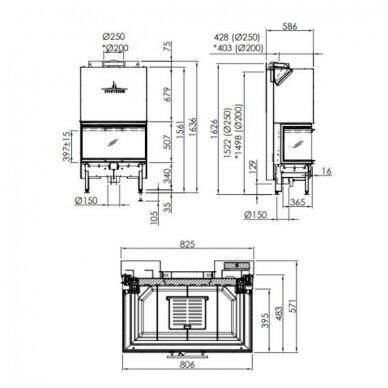 SPARTHERM ARTE 3RL-80H-4S plieninis židinio ugniakuras 3