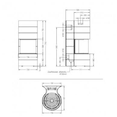 SPARTHERM MAGIC 100 plieninis židinys su baltos spalvos apdaila 4