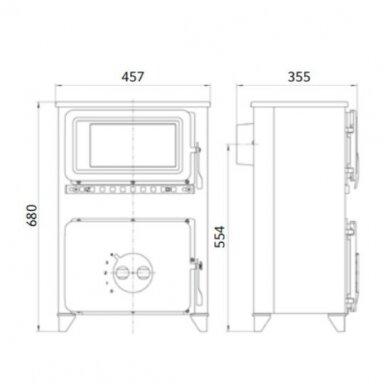 THORMA FILEX-HB bordo spalvos plieninė krosnelė 3